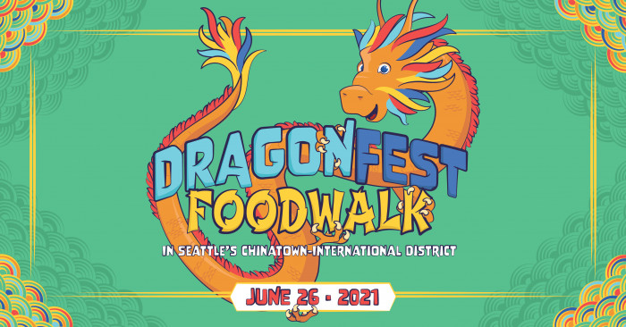 dragon festival graphic, with orange dragon holding the dragonfest food walk text