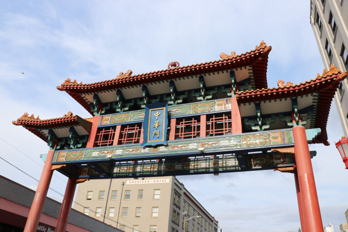 shot of the Chinatown Gate from beneath