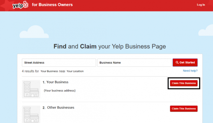 Picture of Claim Yelp page