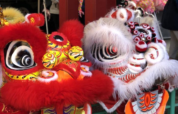 Lion dance costume heads