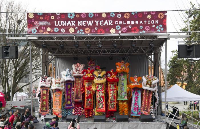 Lion dancers on stage