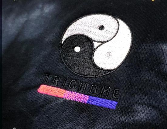 Black Tie Dye Triple Yin Yang Pullover Hoodie