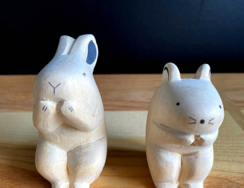 Hand Crafted Wood Figures: Rabbit and Mouse